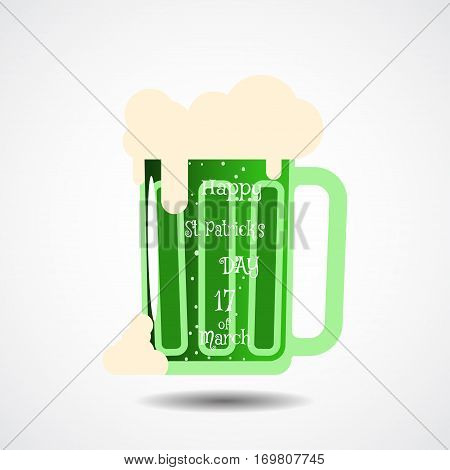 Happy St. Patrick's Day vector poster on the gradient gray background with shadow and goblet of beer.