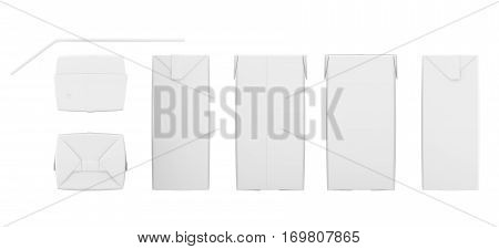 Set of blank juice boxes. Retail package mockup. Isolated on white. 3d rendering.