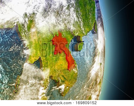 Laos In Red From Space
