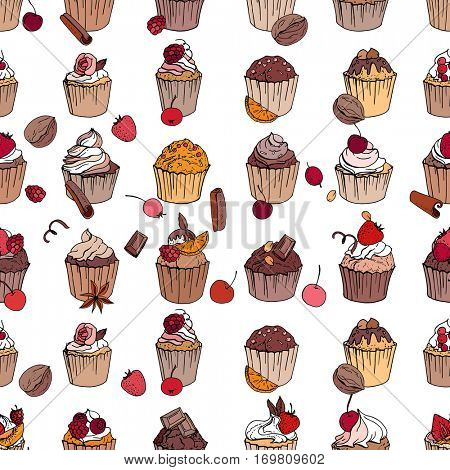 Seamless pattern with different cupcakes with fruits and chocolate. Endless texture for restaurant and cafe menu on white