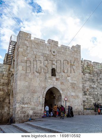 JERUSALEM, ISRAEL - DECEMBER 8: Herod's Gate or Flowers Gate, one of the gates to the Old City of Jerusalem, Israel on December 8, 2016