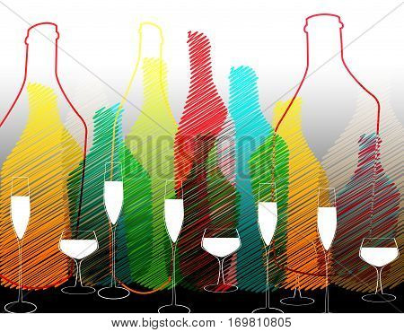 Bottle illustration.Glasses alcohol vector.Cocktail Party.Design for Party.Alcoholic Bottles vector.Wine List Design.Template for Menu Card.Bottle of alcohol.Tumblerful Ilustration.Suitable for Poster