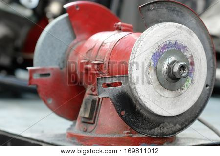 Close up grinder on a workbench