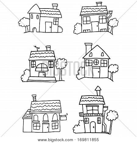 Hand drawn house vector set collection stock