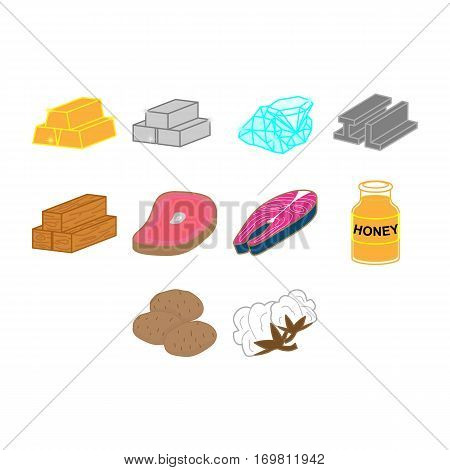 collection of flat color commodities icon vector