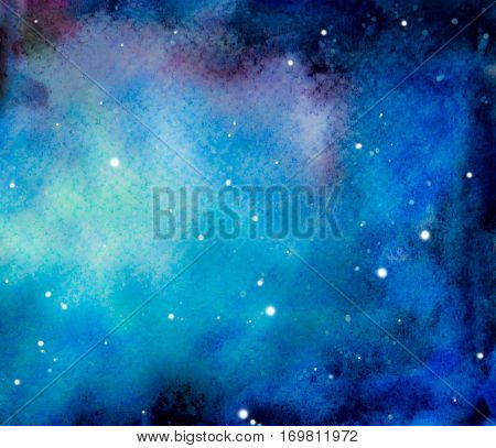 Hand drawn cosmic background. Colorful watercolor galaxy or night sky with stars.