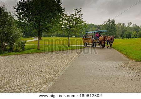 Herren insel, Chiemsee,  Germany - July 2016.:  Omnibus,  horses-drawn