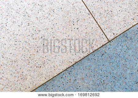 Terrazzo flooring background white and blue tone copper line