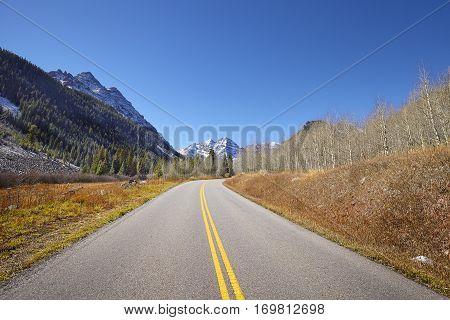 Scenic Mountain Road, Maroon Bells In Distance.