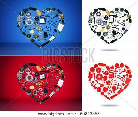 Heart spare auto parts for car on white red blue background. Set with many isolated items for shop or aftermarket, OEM. Valentine's Day