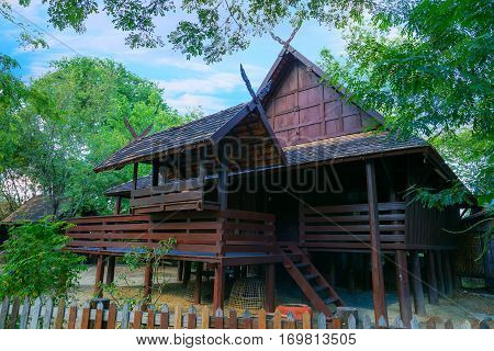 Bangkok, Thailand - December 30 2015: Thai Traditional House In Rural Area