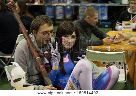 Moscow, Russia - November 19, 2016: People attend the Gamefilmexpo festival dedicated to video games, TV series and comics, anime, manga, cosplay.