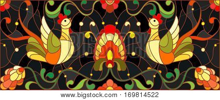 Illustration in stained glass style with a pair of roosters flowers and patterns on a dark background horizontal imagethe imitation of painting Khokhloma