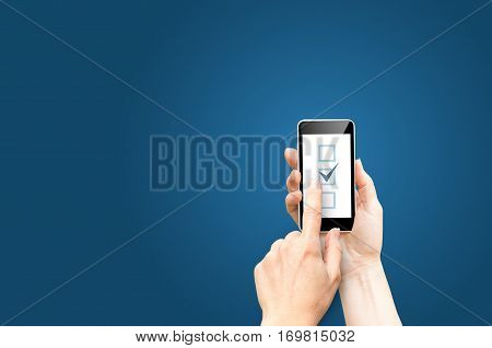 Checkboxes on phone screen concept design illustration banner