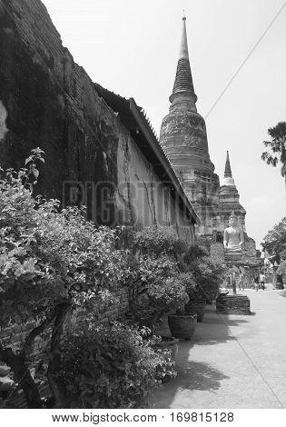 Ancient pagoda at Yai Chaimongkol Ayutthaya Thailand.