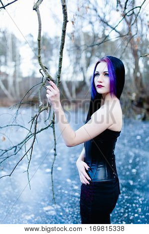 Portrait of the gothic woman on the frozen lake