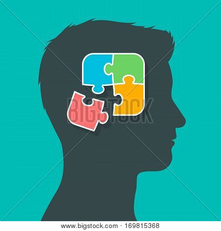 Silhouette of man head profile putting the puzzle pieces together thoughts in brain concept vector illustration
