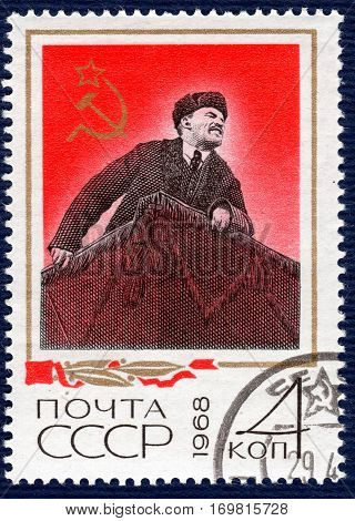 USSR - CIRCA 1968: Postage stamp printed in USSR  with a picture of Vladimir Ilyich Lenin. circa 1968