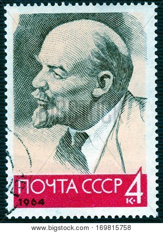 USSR - CIRCA 1964: Postage stamp printed in USSR  with a picture of Vladimir Ilyich Lenin (1870-1924), Russian revolutionary, Soviet politician and statesman. circa 1964