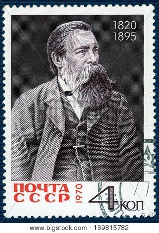 USSR - CIRCA 1970: A Stamp printed in the USSR shows portrait Friedrich Engels (1825-1895), circa 1970.