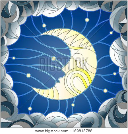 Illustration in stained glass style with the fabulous moon with a face against the sky and clouds