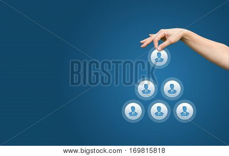 Human Resources And Corporate Hierarchy Concept - Recruiter Complete Team By One Leader Person