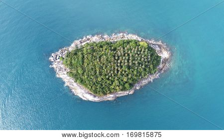 Aerial view of Koh Pu (Carb Island) near Kata beach in Phuket, Thailand