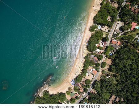 Top View of Praia do Curral (Curral Beach) in Ilhabela, Sao Paulo, Brazil
