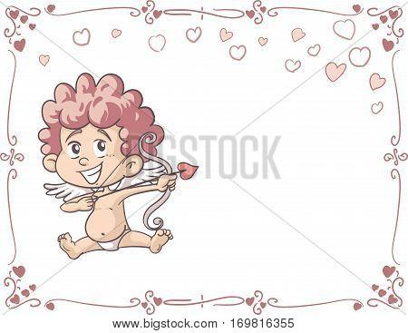 Wedding Invitation with Cupid Vector Card Design