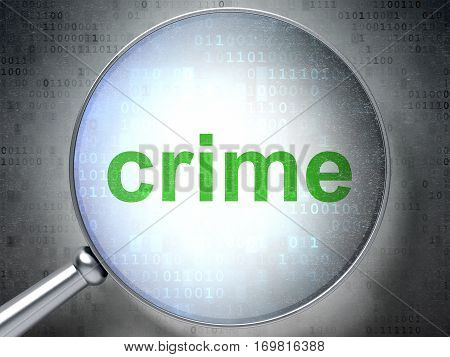 Security concept: magnifying optical glass with words Crime on digital background, 3D rendering