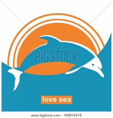 Dolphin Jumping In Sea.vector Sign Concept