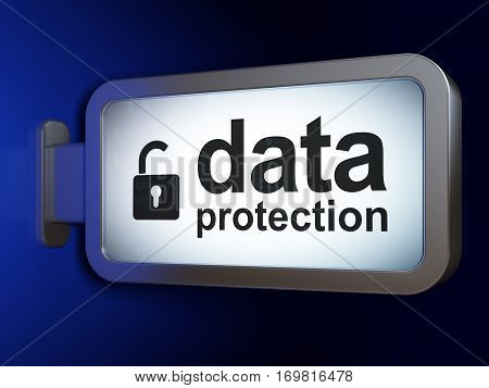 Safety concept: Data Protection and Opened Padlock on advertising billboard background, 3D rendering