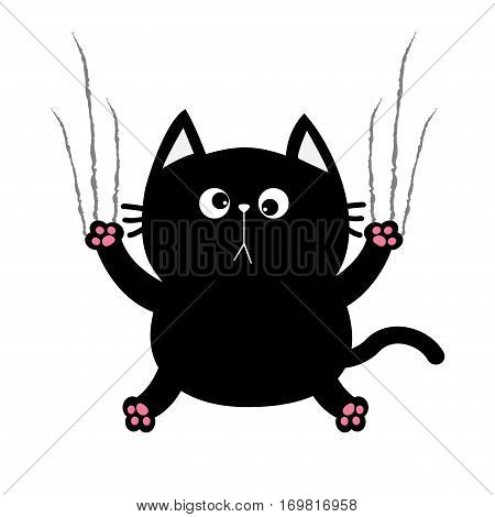 Black fat cat nail claw scratch glass. Cute cartoon funny character. Excoriation track line shape. Baby pet collection. White background. Isolated. Flat design. Vector illustration