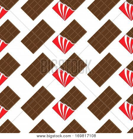 Milk dark chocolate bar icon. Opened red foil. Modern simple style. Seamless Pattern Wrapping paper textile template. White background. Flat design. Vector illustration.