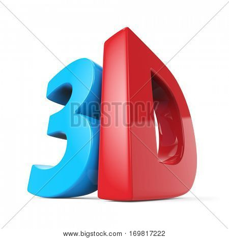 3D technology blue and red sign isolated on white background. 3D rendering.