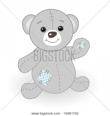 Cute grey teddy bear with patch.