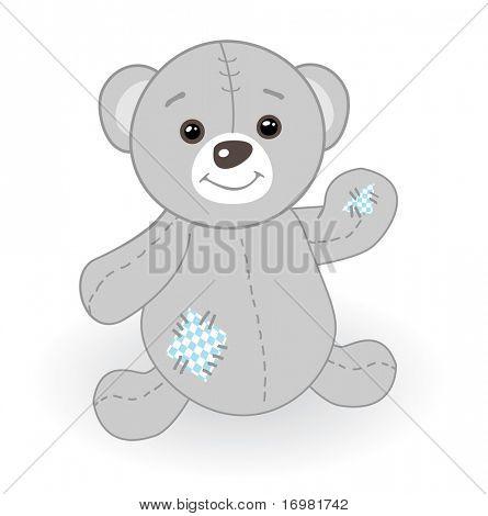 Lindo oso de peluche gris con parche.