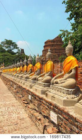 Buddhist statue at Yai Chaimongkol Ayutthaya Thailand.