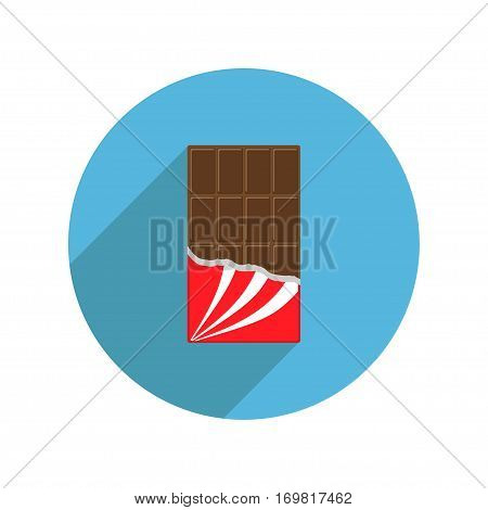 Round milk chocolate bar icon shadow. Opened red wrapping paper foil. Tasty sweet food dessert. Rectangle shape Vertical piece. Modern simple style. Flat design. White background. Isolated. Vector