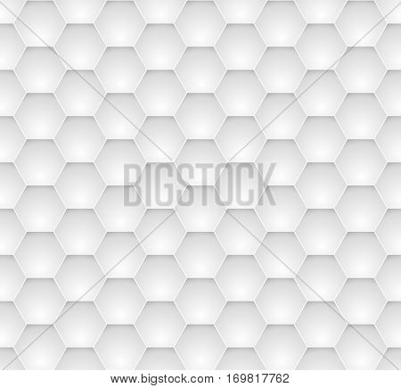 Seamless dented hexagons white wall texture.