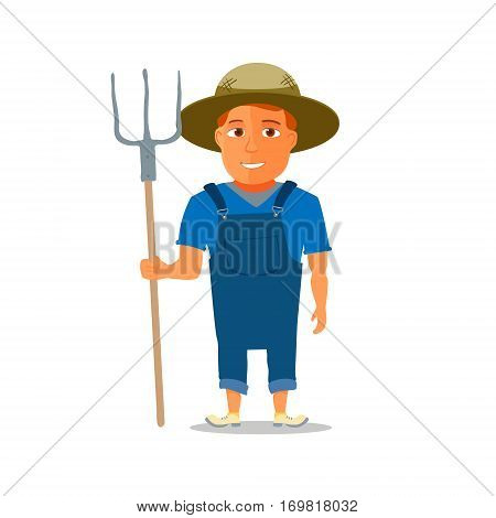 Cartoon Farmer Character with pitchfork. Vector illustration
