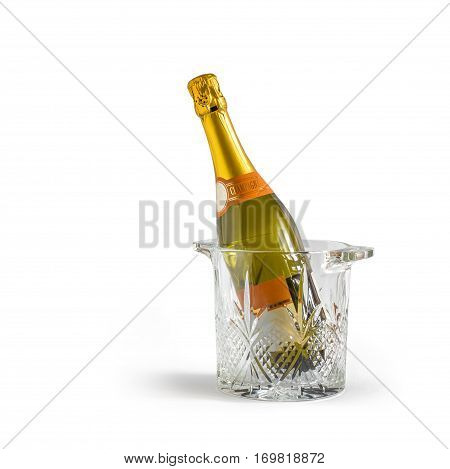 Champagne bottle in a bucket concept design illustration banner