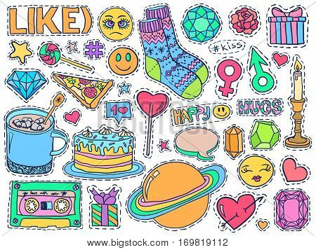 Patch Badges Set College Doodles Social Media Colorful 5