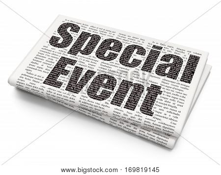 Finance concept: Pixelated black text Special Event on Newspaper background, 3D rendering