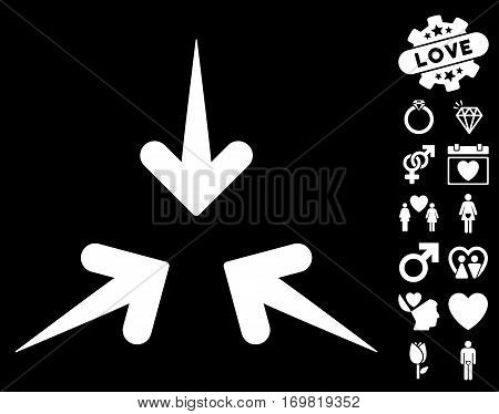 Impact Arrows icon with bonus lovely graphic icons. Vector illustration style is flat rounded iconic white symbols on black background.