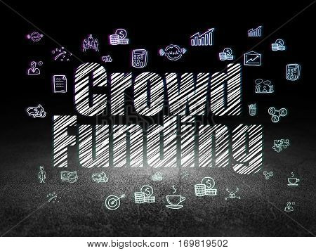 Business concept: Glowing text Crowd Funding,  Hand Drawn Business Icons in grunge dark room with Dirty Floor, black background