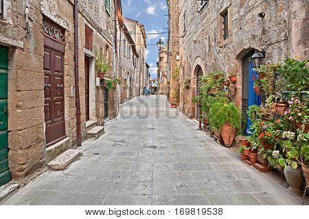 Pitigliano, Grosseto, Tuscany, Italy: picturesque old alley with ancient houses and plants in the medieval town founded in Etruscan time