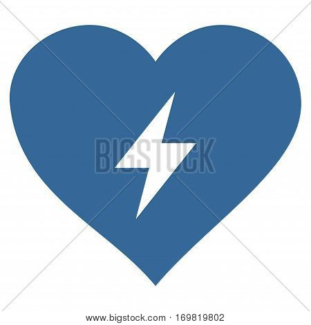 Heart Power flat icon. Vector cobalt symbol. Pictogram is isolated on a white background. Trendy flat style illustration for web site design, logo, ads, apps, user interface.
