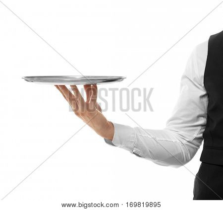 Hand of waiter with metal tray on white background