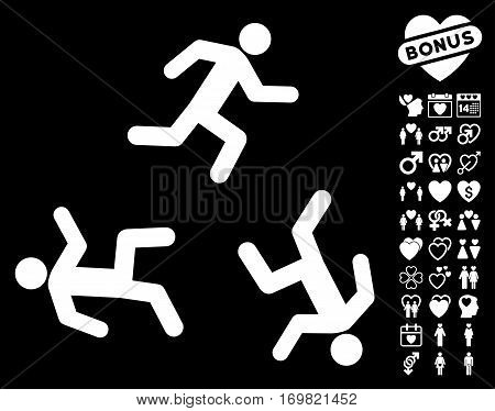Running Men pictograph with bonus dating graphic icons. Vector illustration style is flat rounded iconic white symbols on black background.